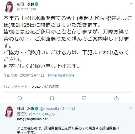 政府がイベント自粛を呼び掛けている時に政治資金パーティを開催する呼びかけをした杉田水脈議員のツイッター